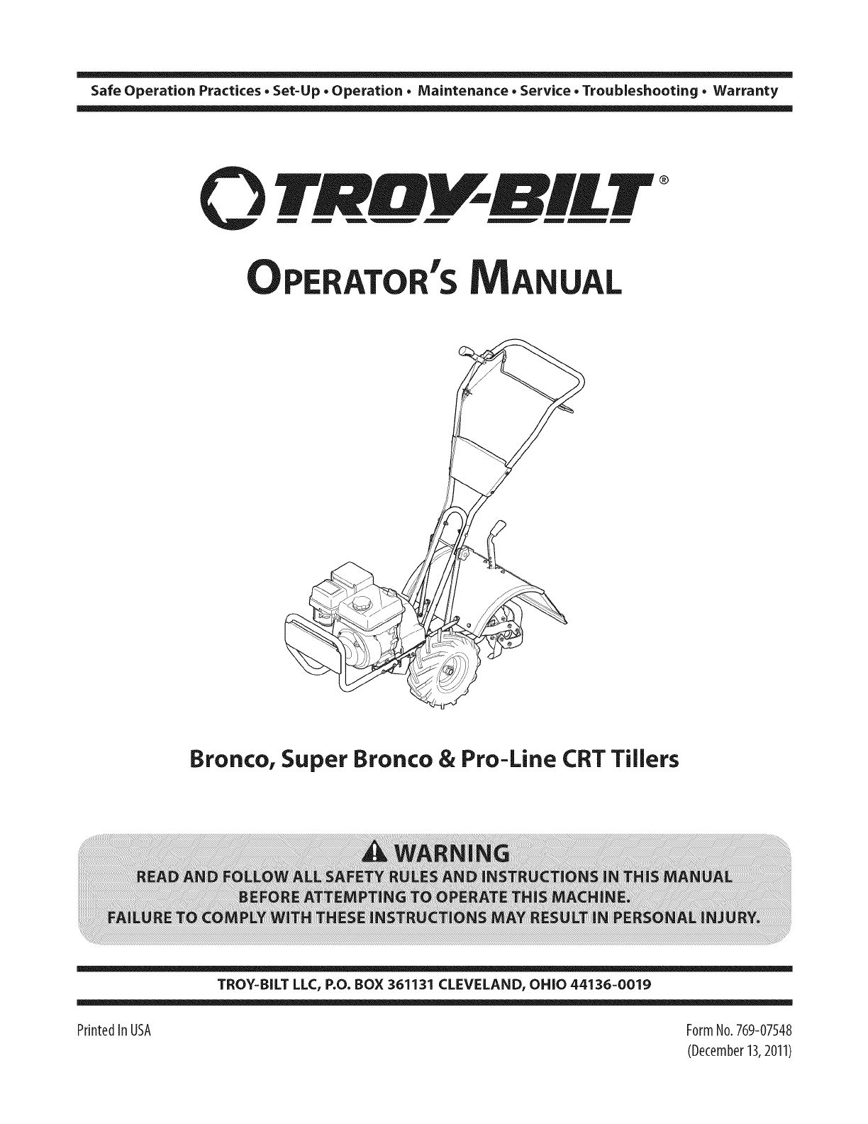 Troybilt 21D 64M1066 User Manual REAR TINE TILLER Manuals And Guides  1403390L