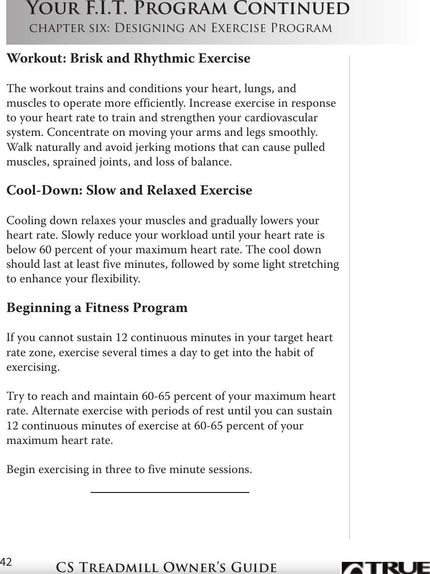 True Fitness Cs4 Users Manual CS Treadmill 5 07 indb