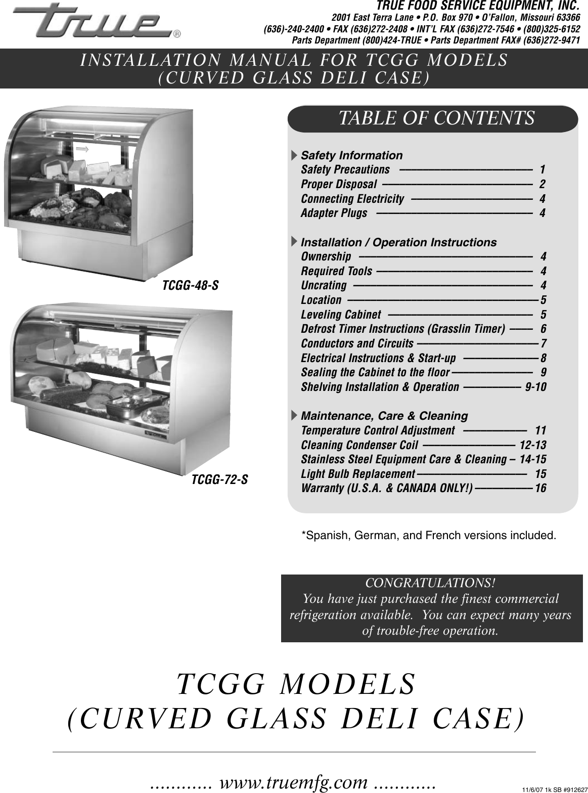 True Manufacturing Company Tcgg 48 S Users Manual