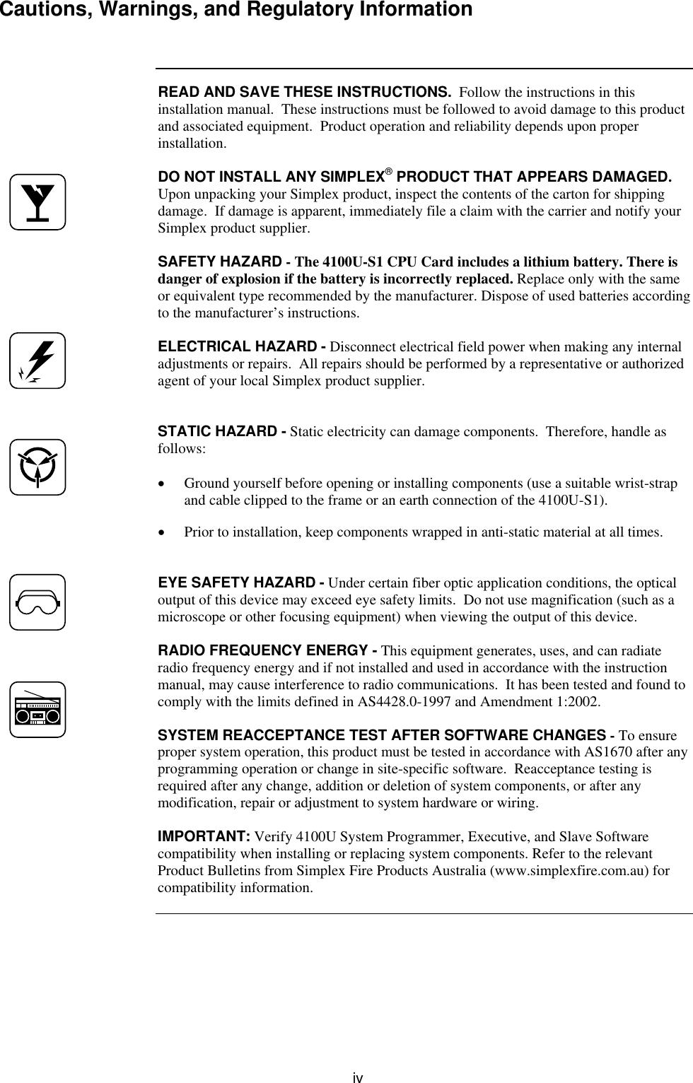 Tyco 4100U S1 Users Manual LT0394 SP1 Installation & Maintenance