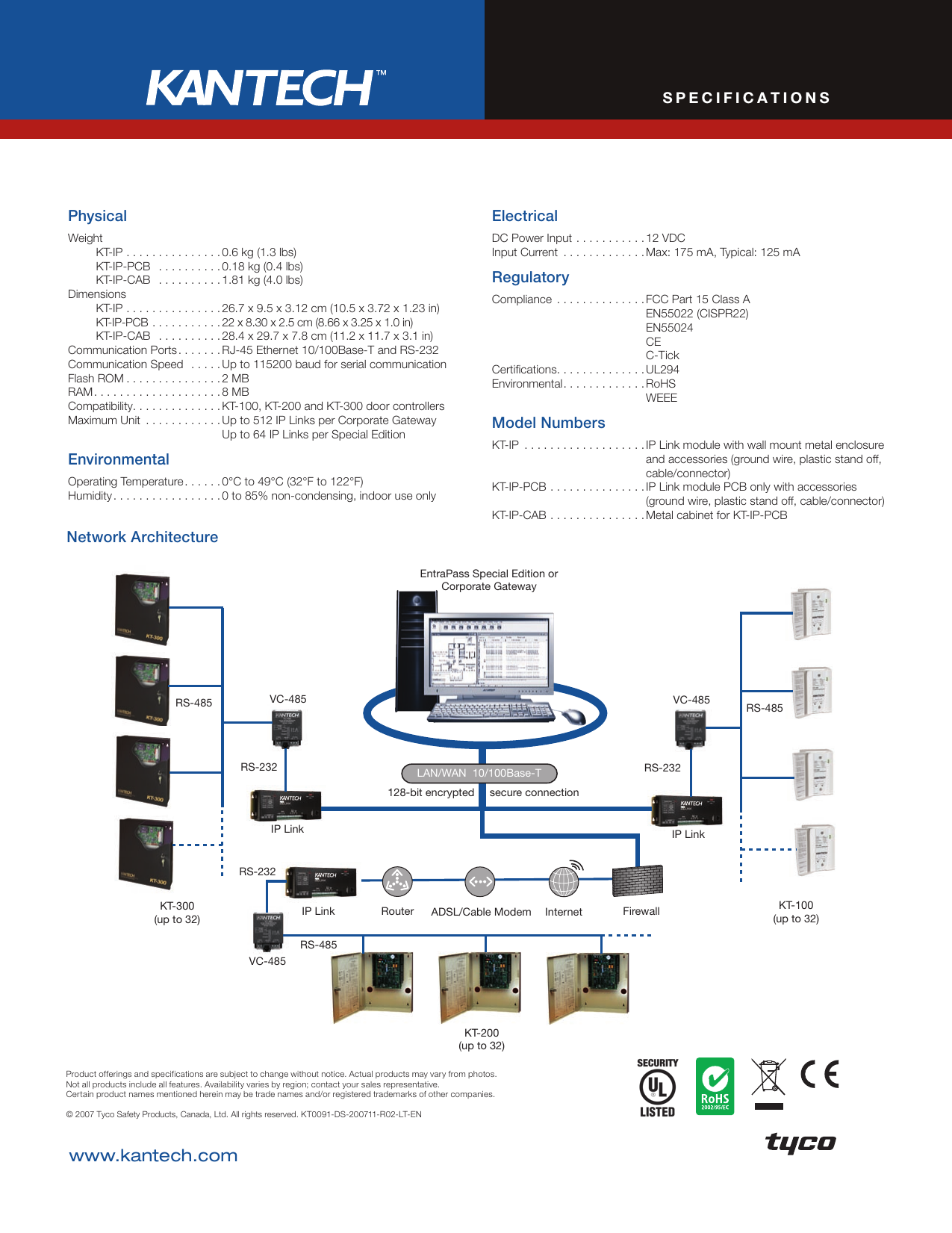 page 2 of 2 - tyco tyco-kantech-kt-100-users-