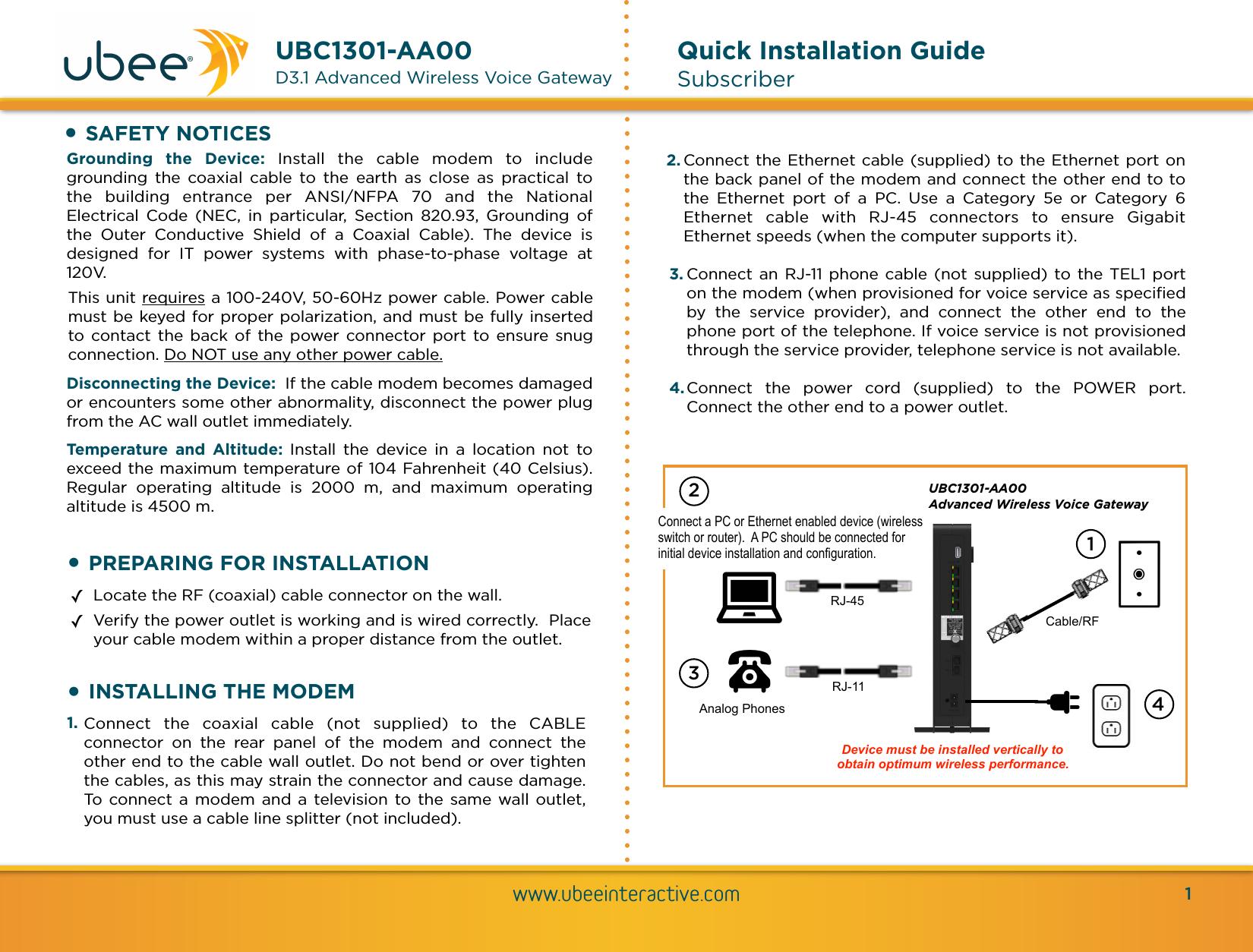 Ubee Interactive Ubc1301 Wireless Emta User Manual Rev