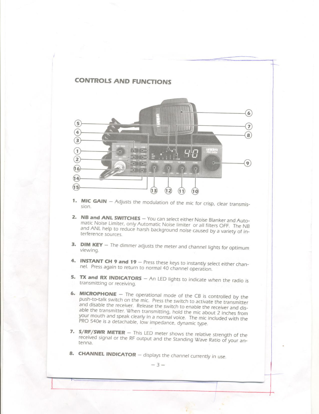 Uniden Pro 540E Users Manual