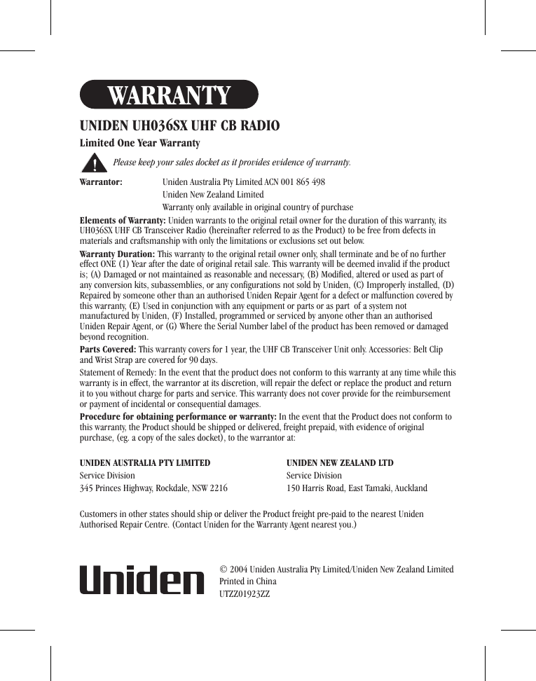 Uniden Uh036Sx Users Manual Cathy\backup\Back Up\Uniden...