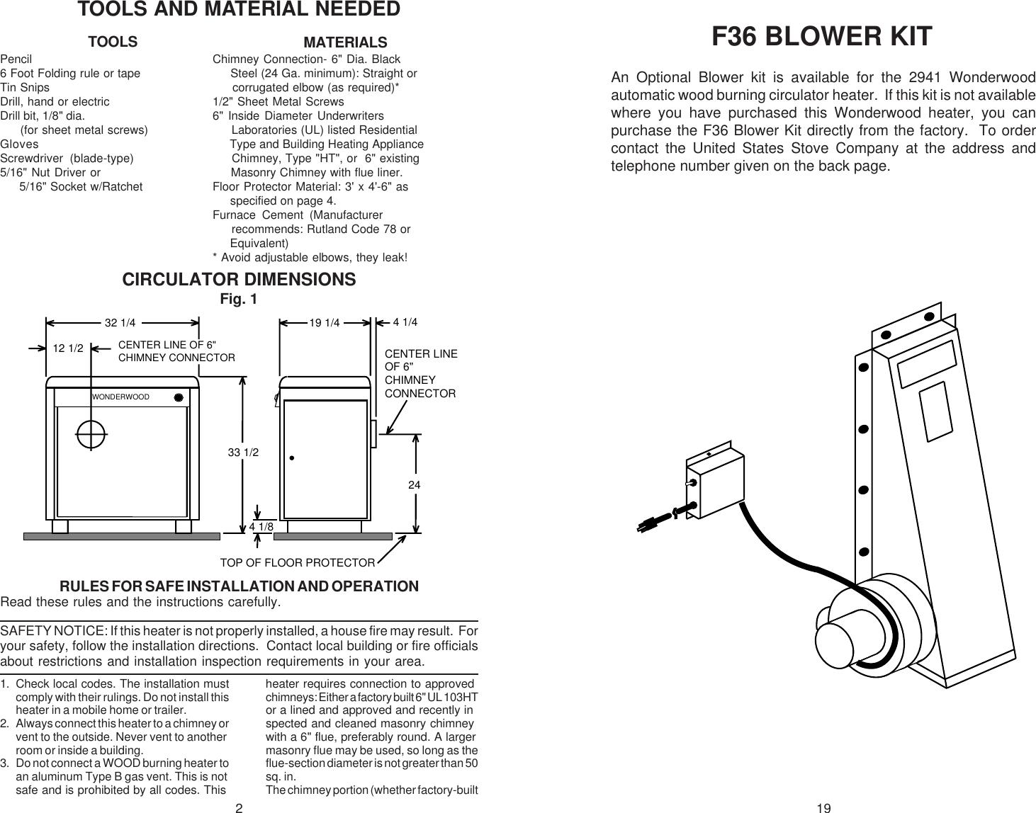 United States Stove 2941 Users Manual 2941MANUAL
