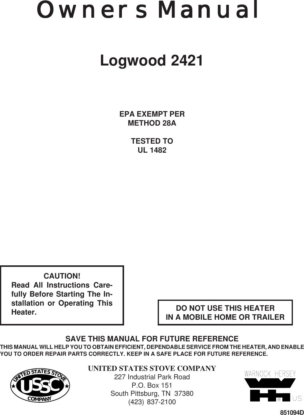 united states stove logwood 2421 users manual rh usermanual wiki Whirlpool Stove Manual Kenmore Stove Manual