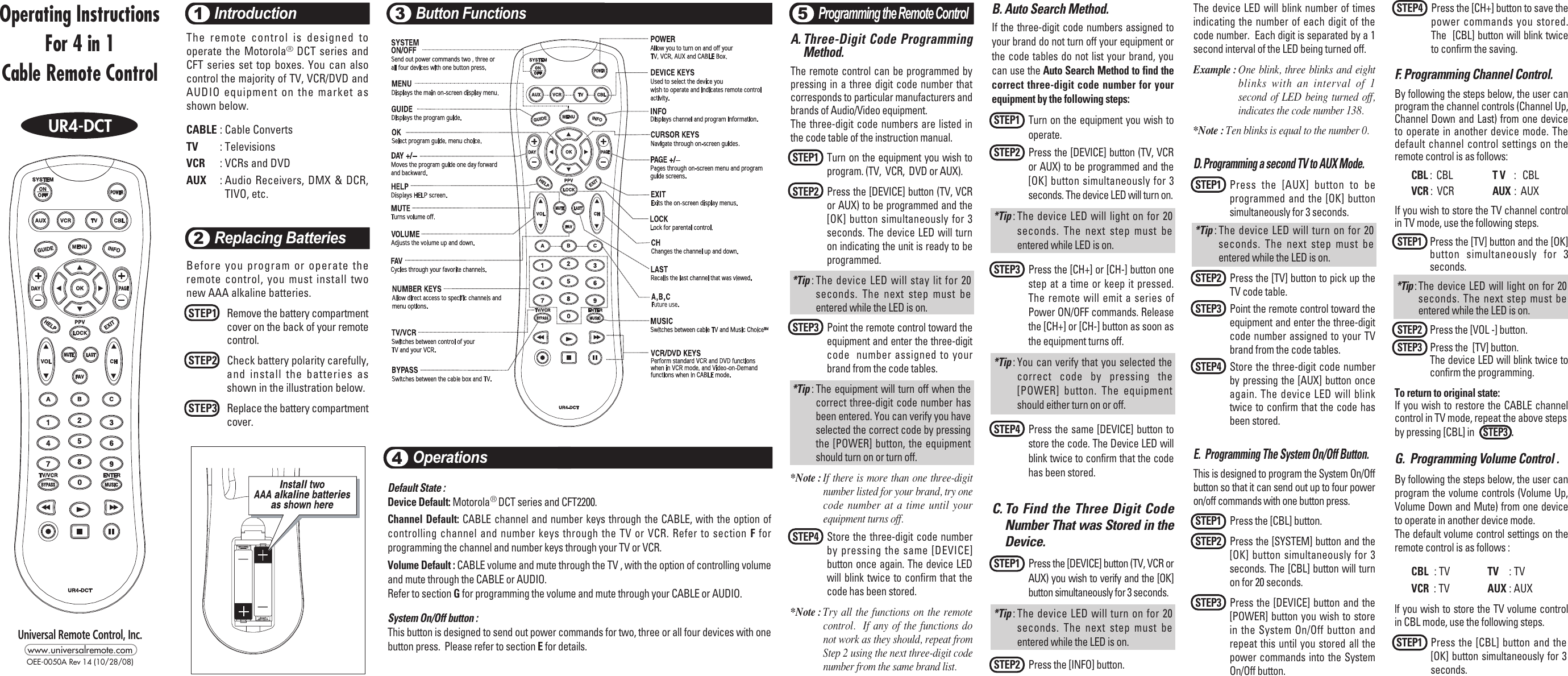 Universal Remote Control Ur4 Dct Programming Instructions