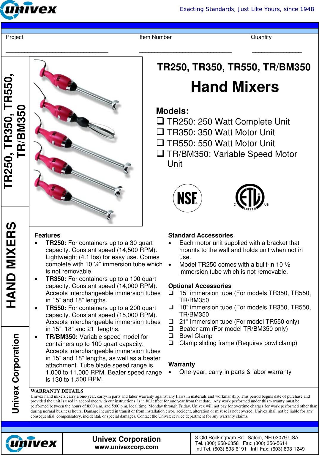 univex tr bm350 users manual hand mixers rh usermanual wiki Univex M20 Univex MG8912