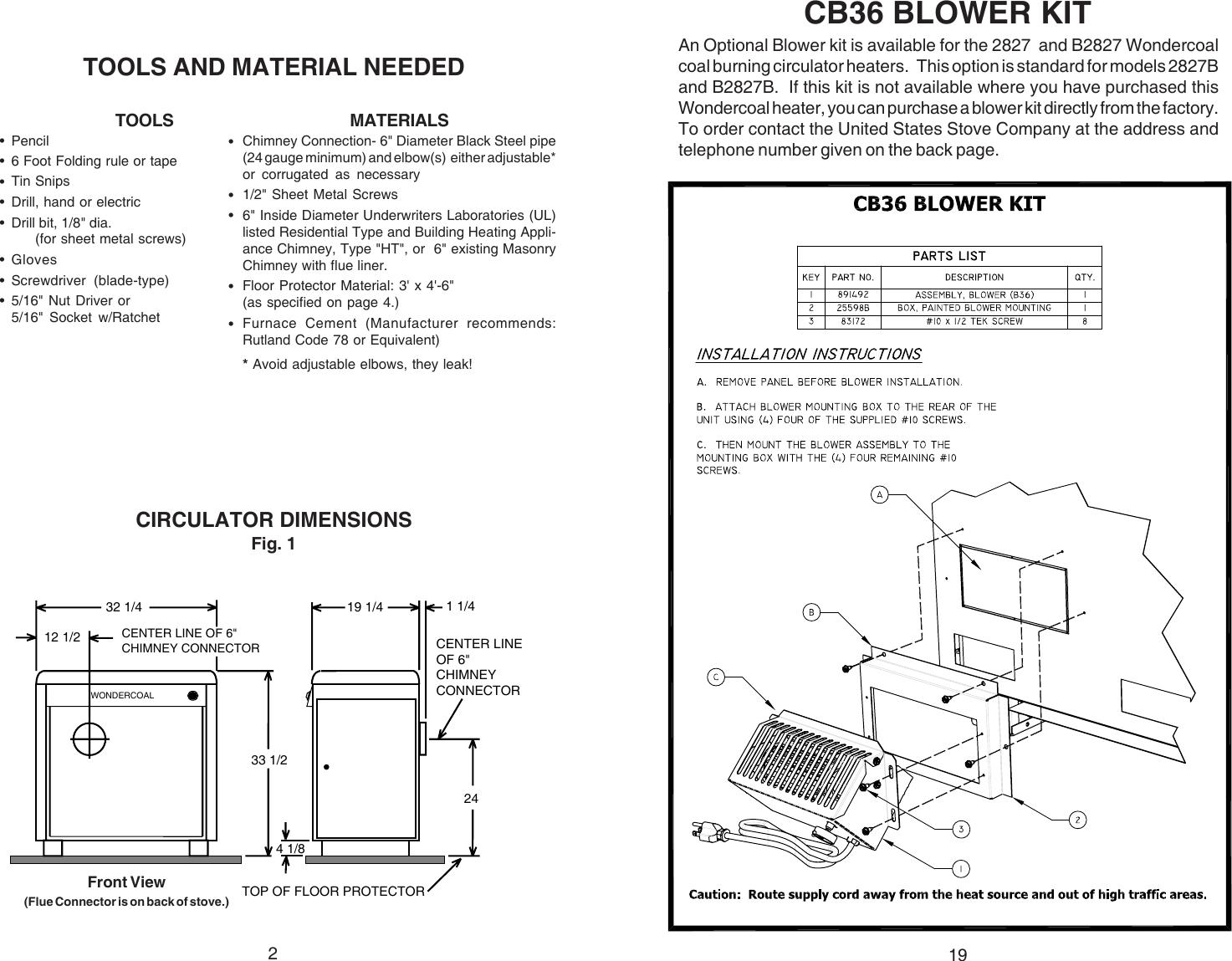 Ussc Wondercoal 2941 Owners Manual 1003456 85862jpmd User Coal Furnace Blower Wiring Diagram