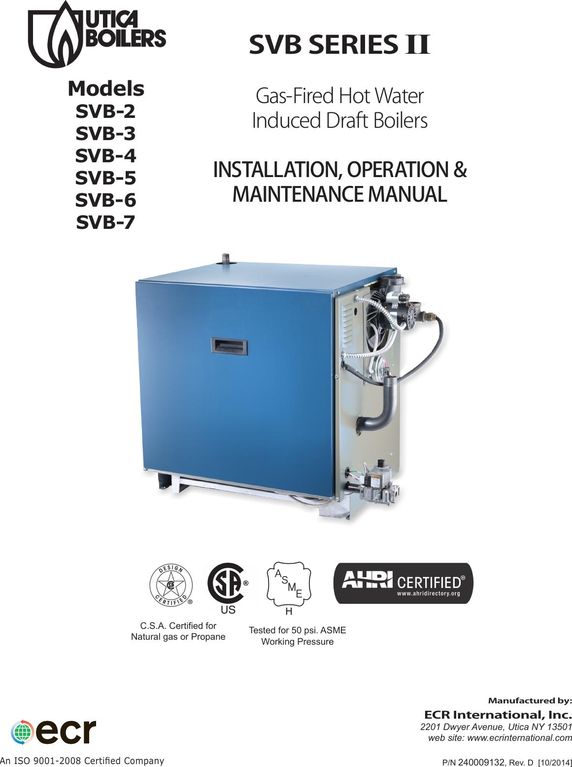 Utica Boilers Svb Series Ii Operation And Installation Manual