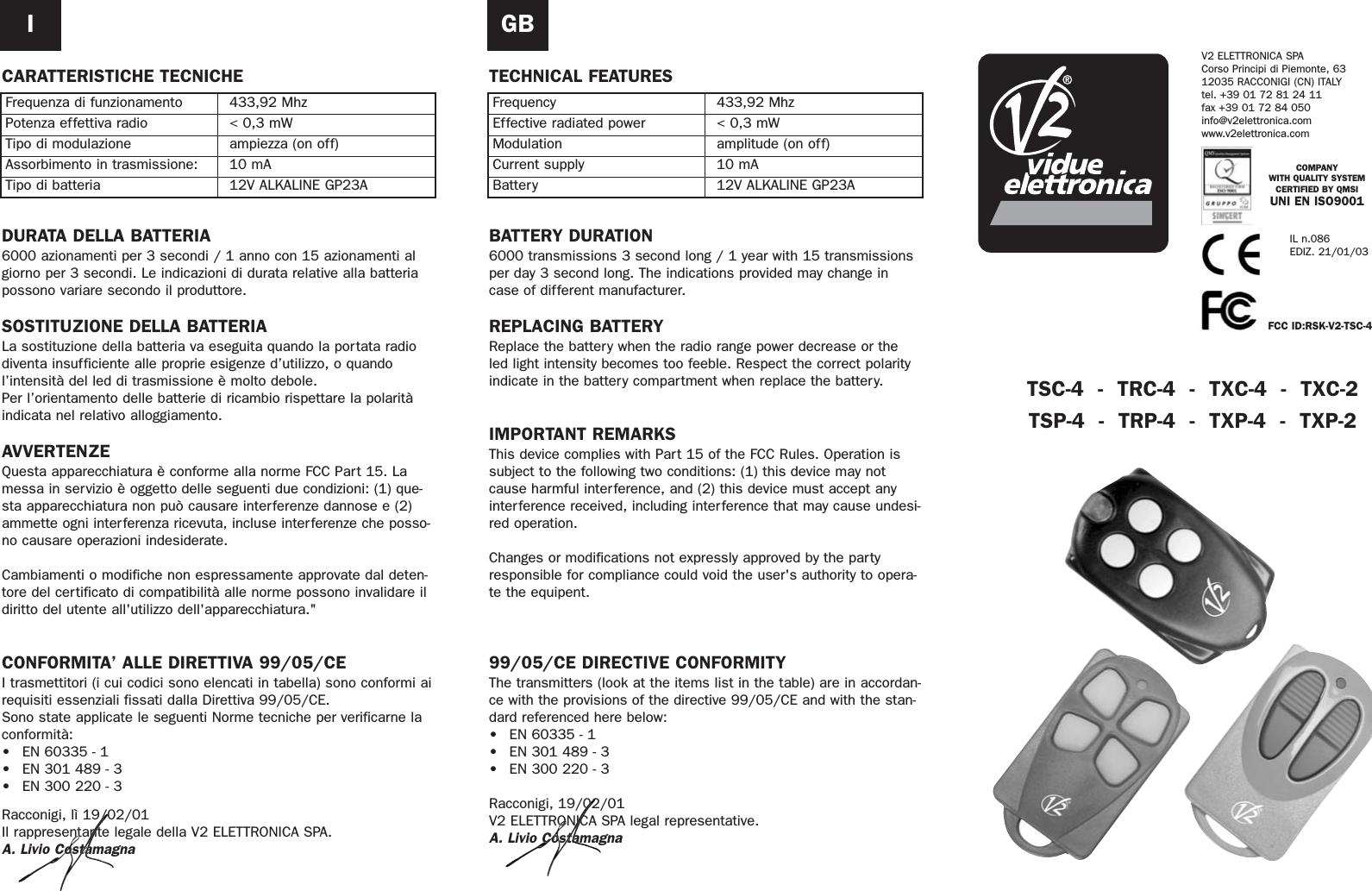V2 Elettronica S p A V2-TSC-4 Remote Control Transmitter