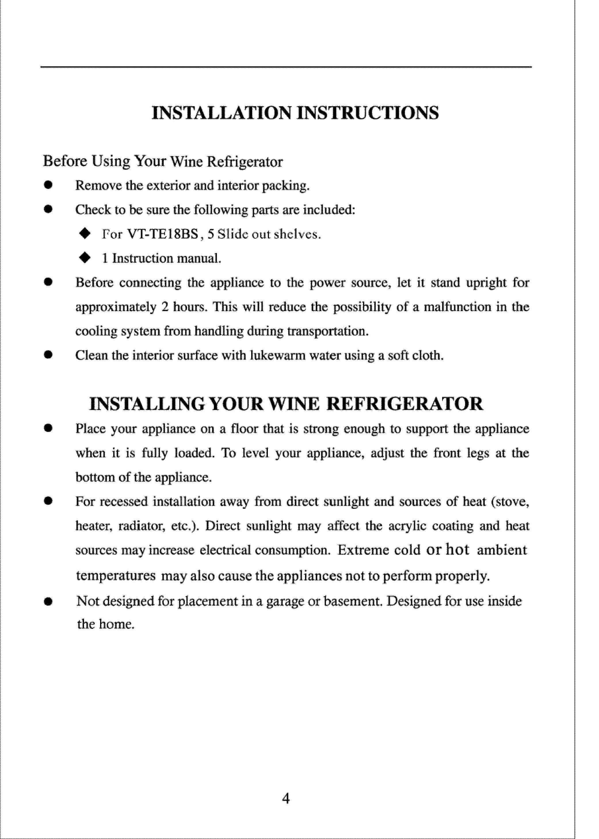 VINOTEMP Wine Cooler Manual L0801832