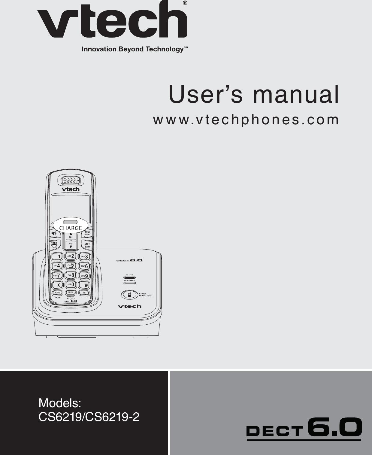 vtech telecommunications 80 6948 00 1 9ghz cordless phone handset rh usermanual wiki vtech user's manual dect 6.0 vtech user's manual dect 6.0