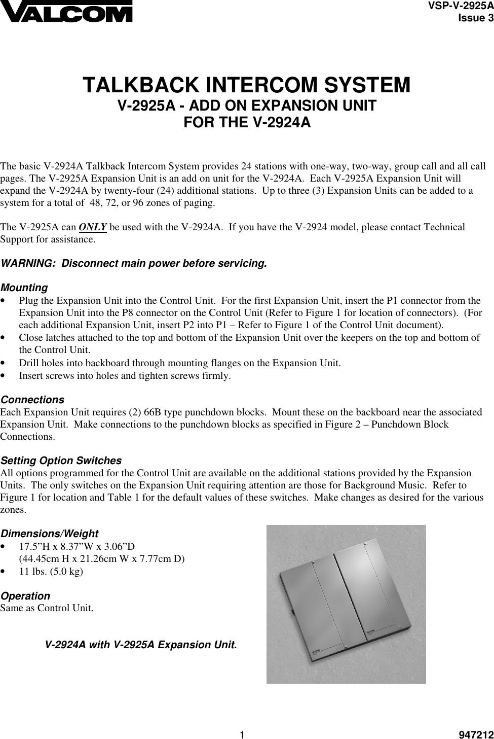 Fantastic Valcom Intercom System Vsp V 2925A Users Manual Wiring 101 Olytiaxxcnl
