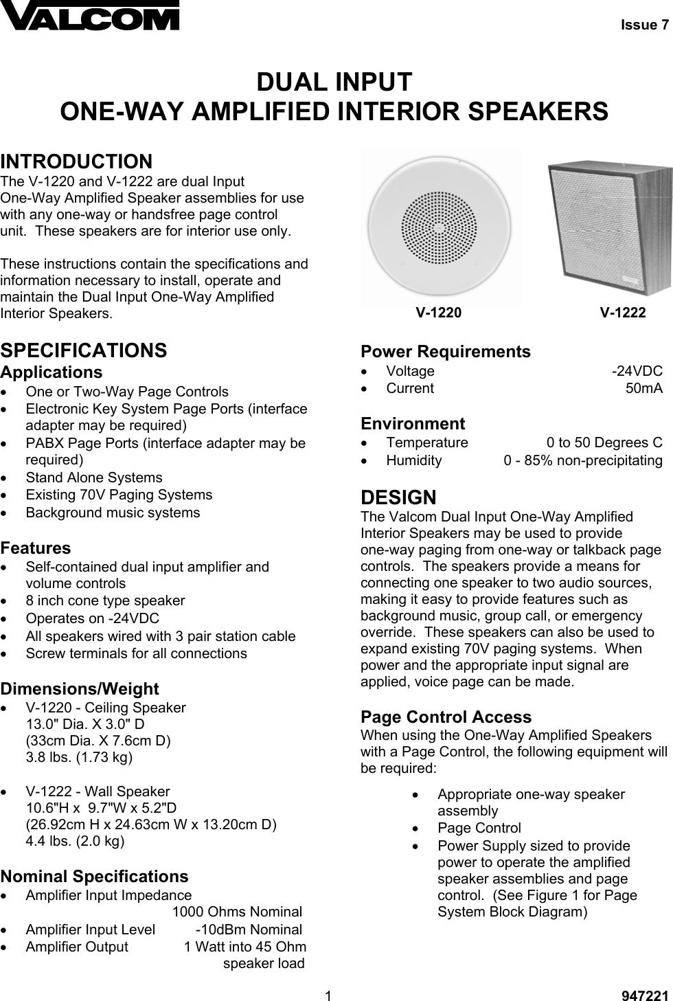 Valcom Speaker V 1220 Users Manual 947221_ISS7 on