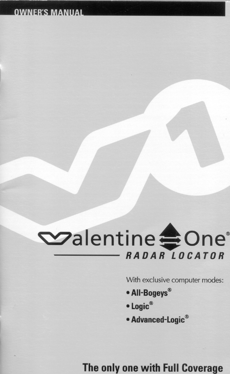 Page 1 Of Valentine Research V18 Radar Locator User Manual Users Manual 1  Of 3
