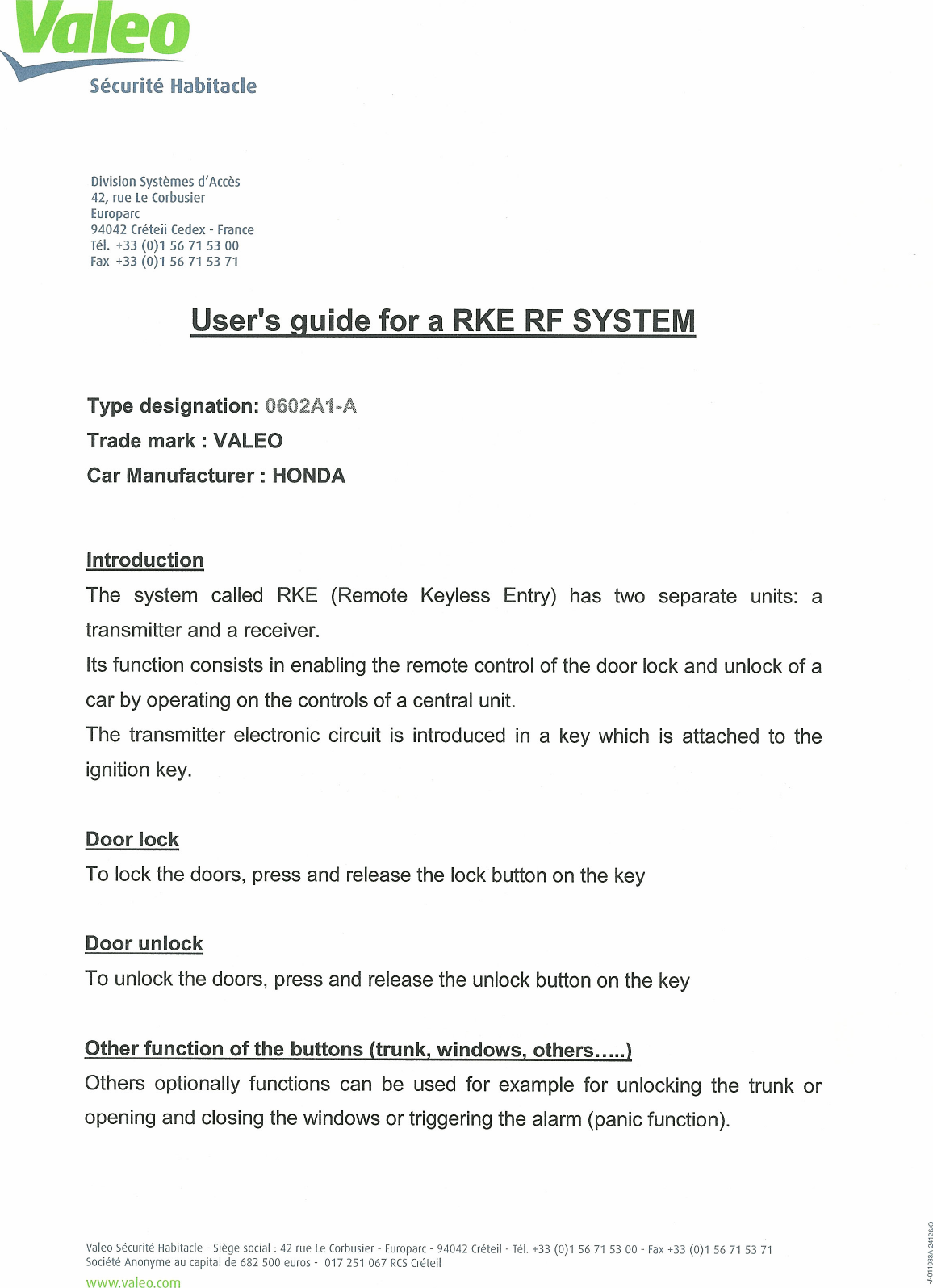 Valeo Comfort and Driving Assistance 0602A1-A Transmitter 0602A1-A User  Manual User Guide