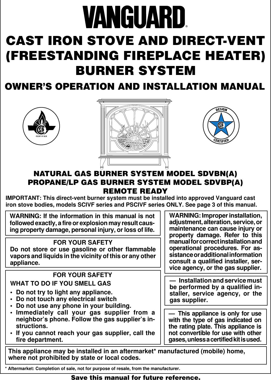 Vanguard Heating Sdvbna Users Manual 105499 01 Wiring Diagram 3