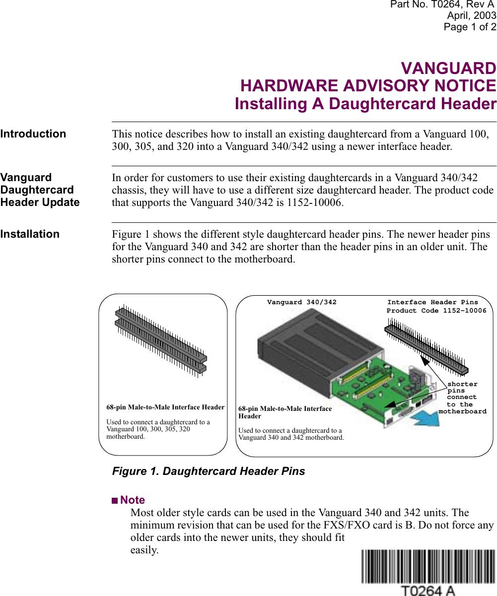 Vanguard Managed Solutions Daughtercard Header Users Manual