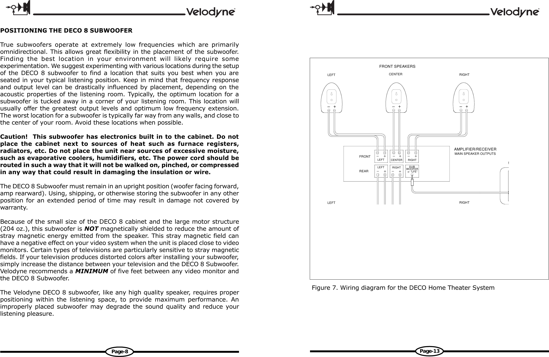 Velodyne Acoustics Deco Users Manual 63deco8cp65 Subwoofer Wiring 4 Ohm Diagram Speaker Cabi Page 10 Of 12