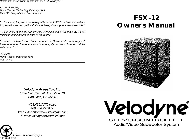 Velodyne Acoustics Fsx 12 Users Manual