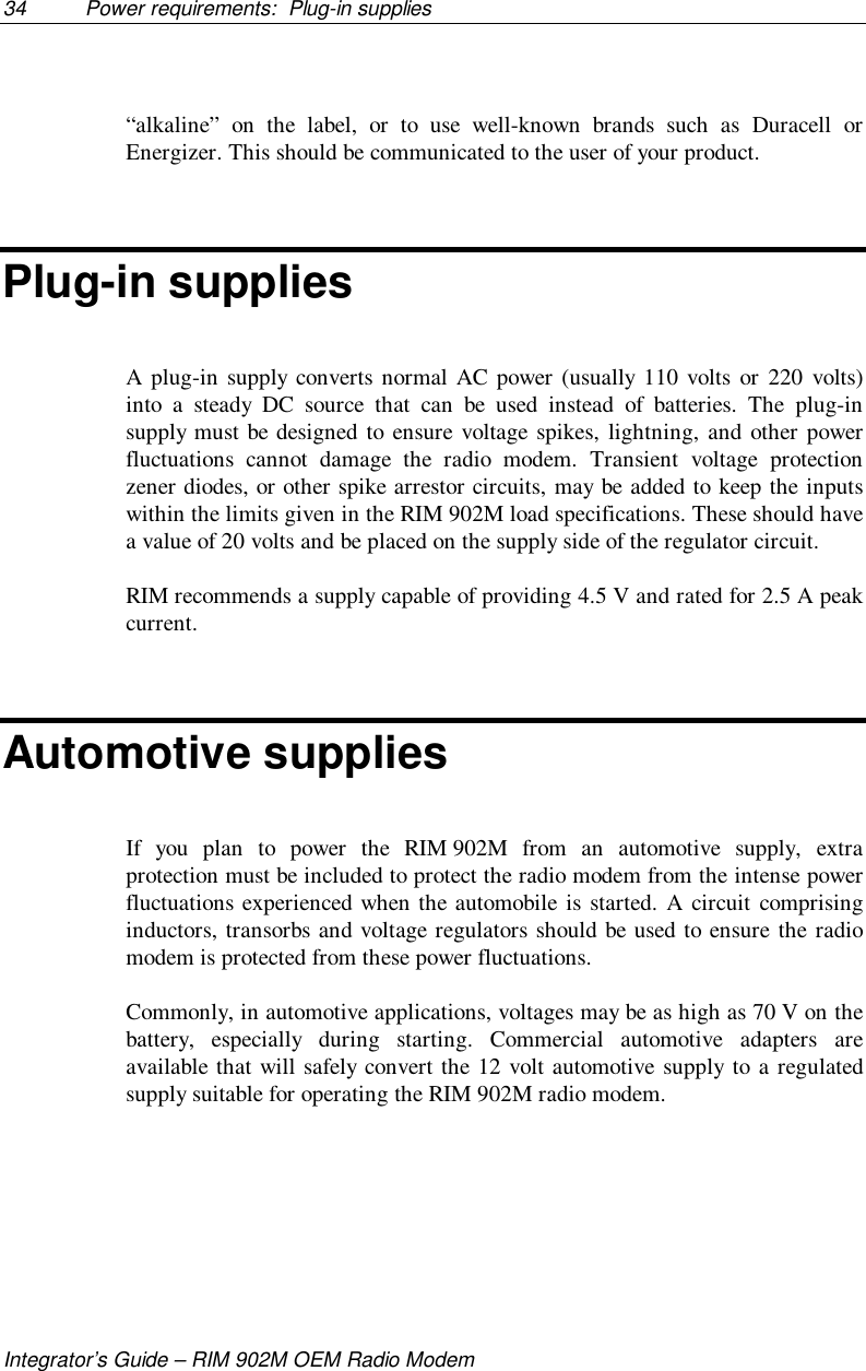 Verifone Nurit8000ri Point Of Sale Device User Manual Rim 902m Radio Modem Circuit 34 Power Requirements Plug In Suppliesintegrators Guide Oem