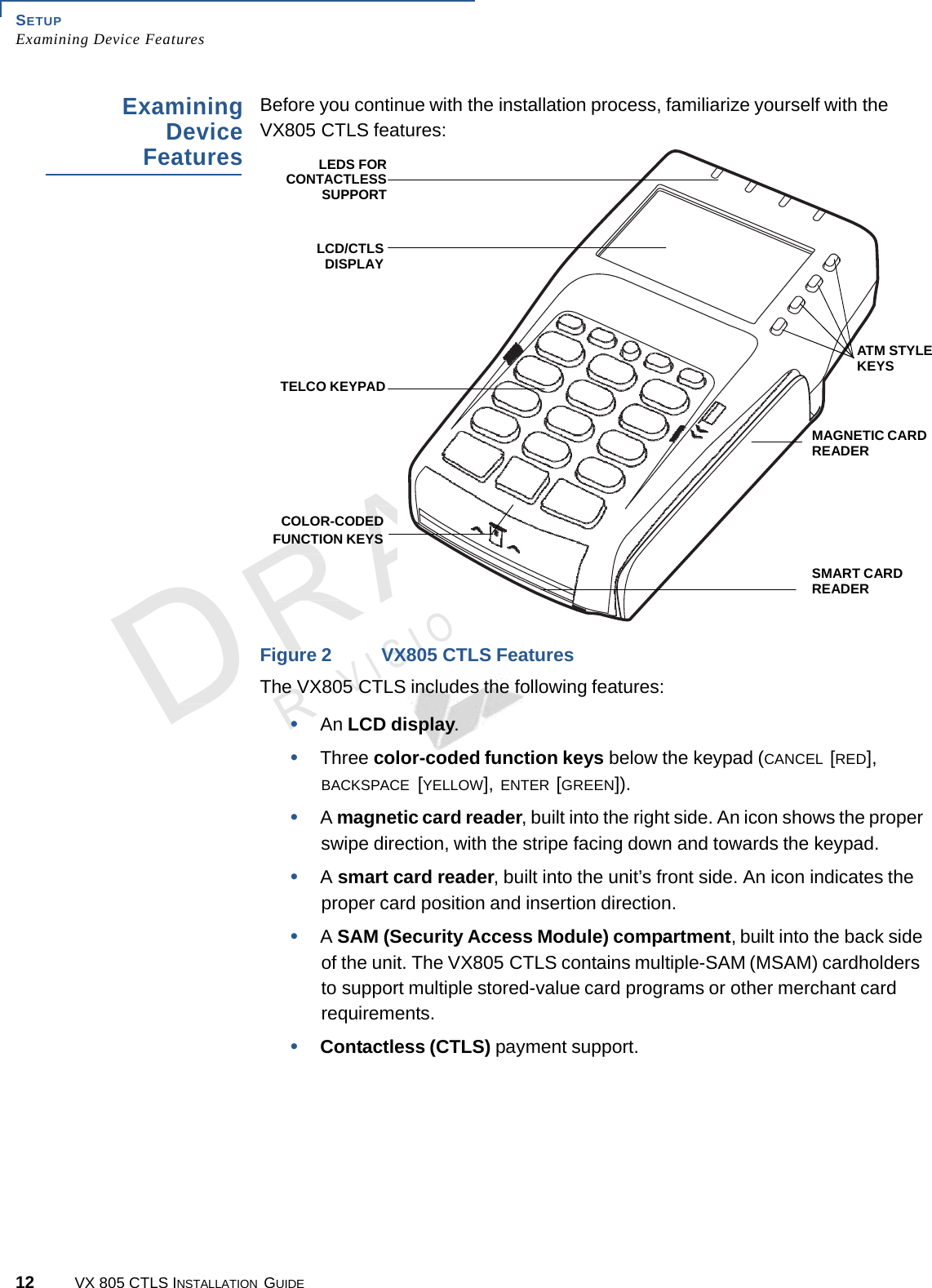 12 VX 805 CTLS INSTALLATION GUIDE SETUP Examining Device Features A.7 N Examining Device