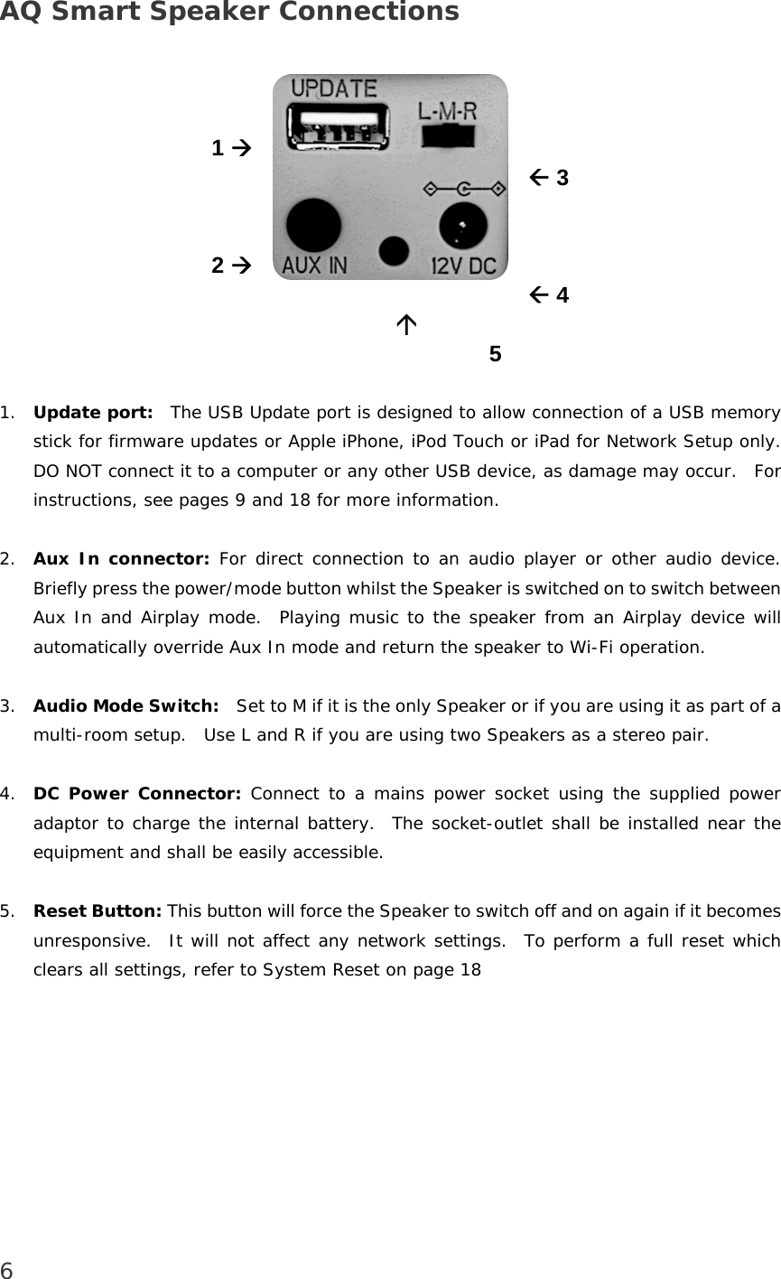 Victory Concept Aps Jess001 Aq Smart Speaker With Apple Airplay User Nano Ipod Usb Wiring Diagram 6 Connections 1 2 3 4 5