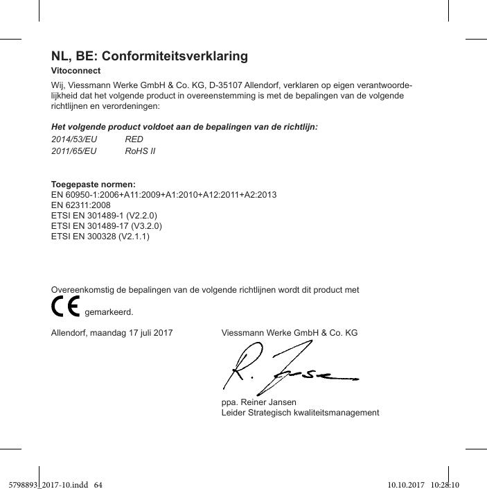 Viessmann Elektronik VC0218 Vitoconnect User Manual safety