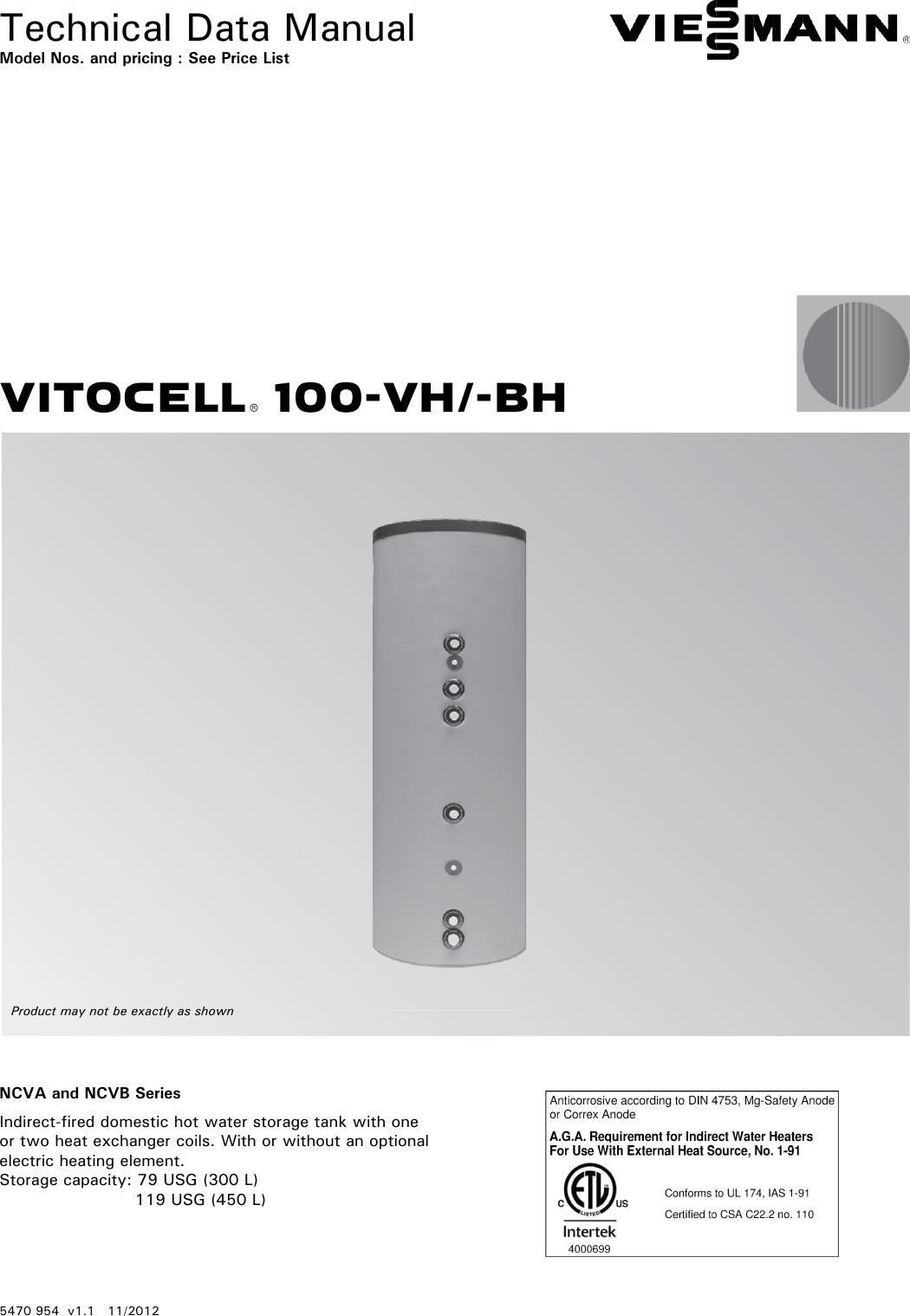 Viessmann Vitocell 100 Vh Bh Technical Manual 5470 954 V1 1