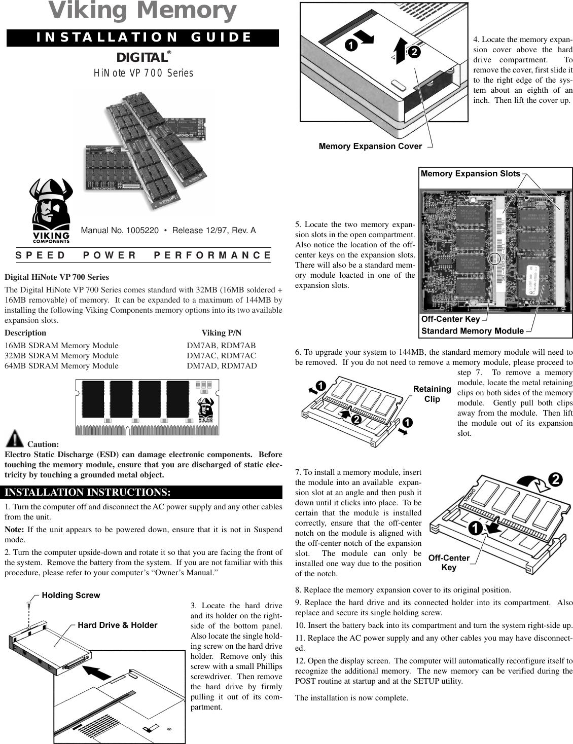 Viking Interworks Dec Hinote Vp 700 Series Users Manual Digital Phillips 7 Way Wiring Diagram Memory Installation Pdf