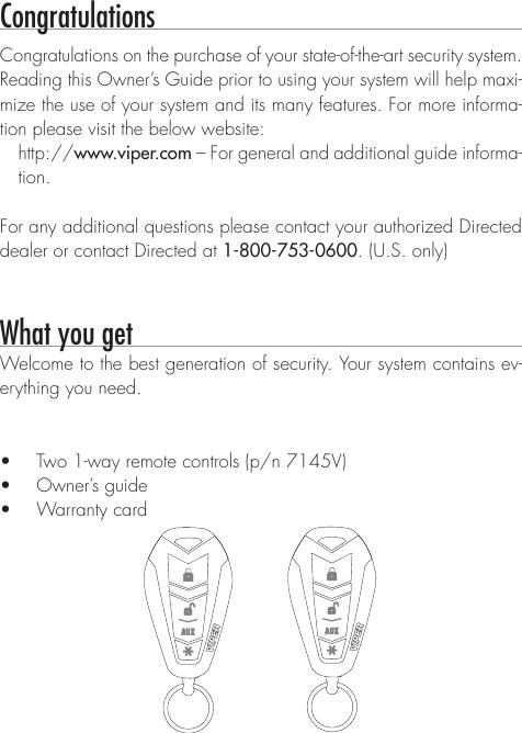 Viper 3105V Owners Manual 6073105V