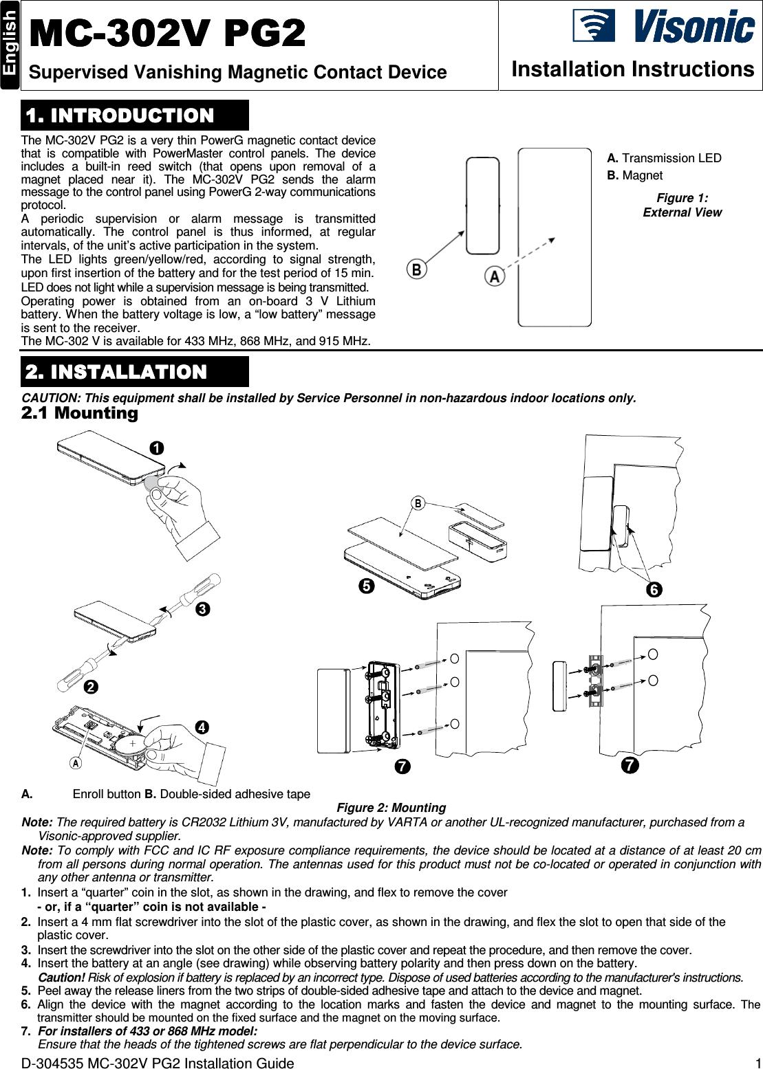 visonic mc302vpg2 vanishing magnetic contact device user manual d 304535 mc 302v pg2