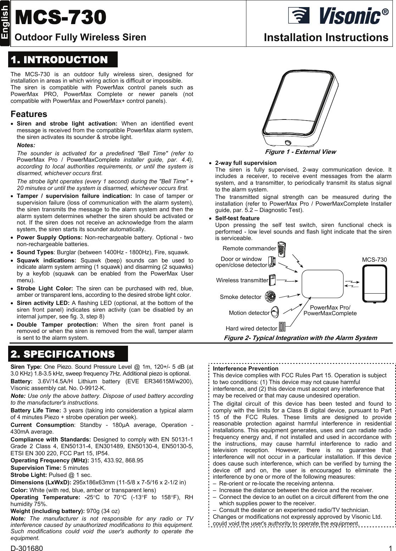 Visonic MCS730 FULLY SUPERVISED OUTDOOR WIRELESS SIREN User Manual D 301680  Rev 0 MCS 730UserManual.wiki