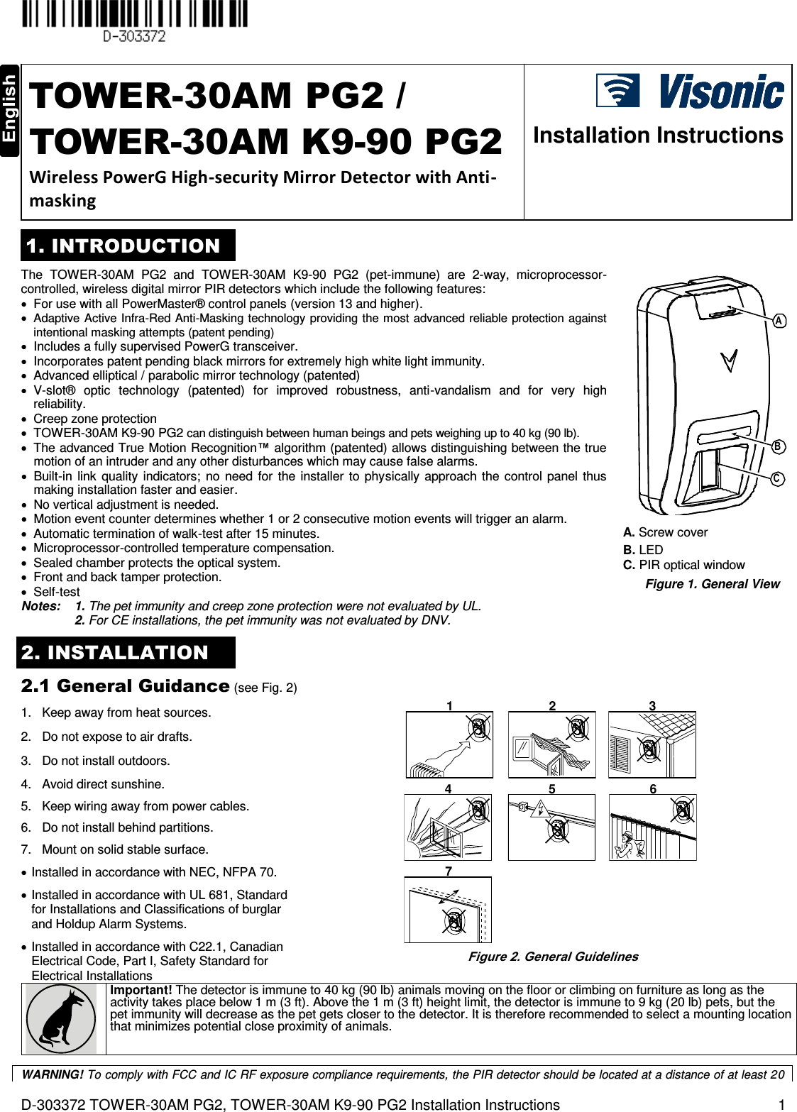 Visonic RFD PG2 RF Module, RFD User Manual