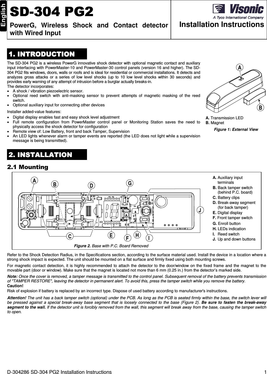 Visonic Sd304cpg2 Shock Detector User Manual D 304286 Sd 304 Pg2