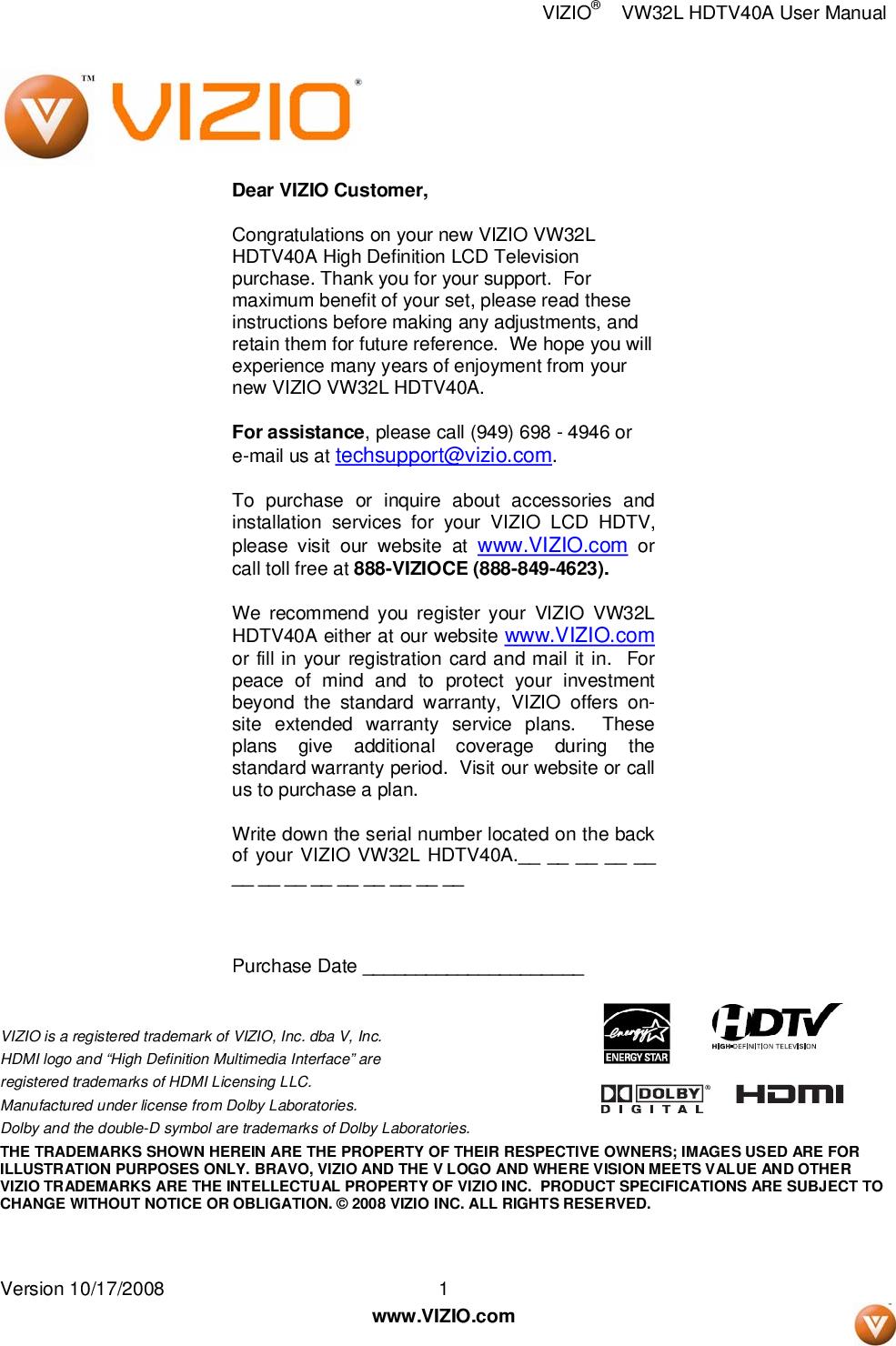 vizio owners manual vw32l