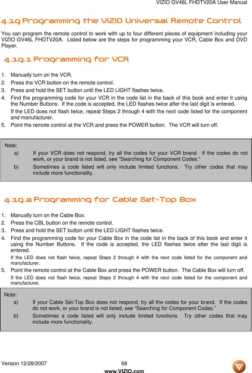 Vizio Gv46L Fhdtv20A Users Manual