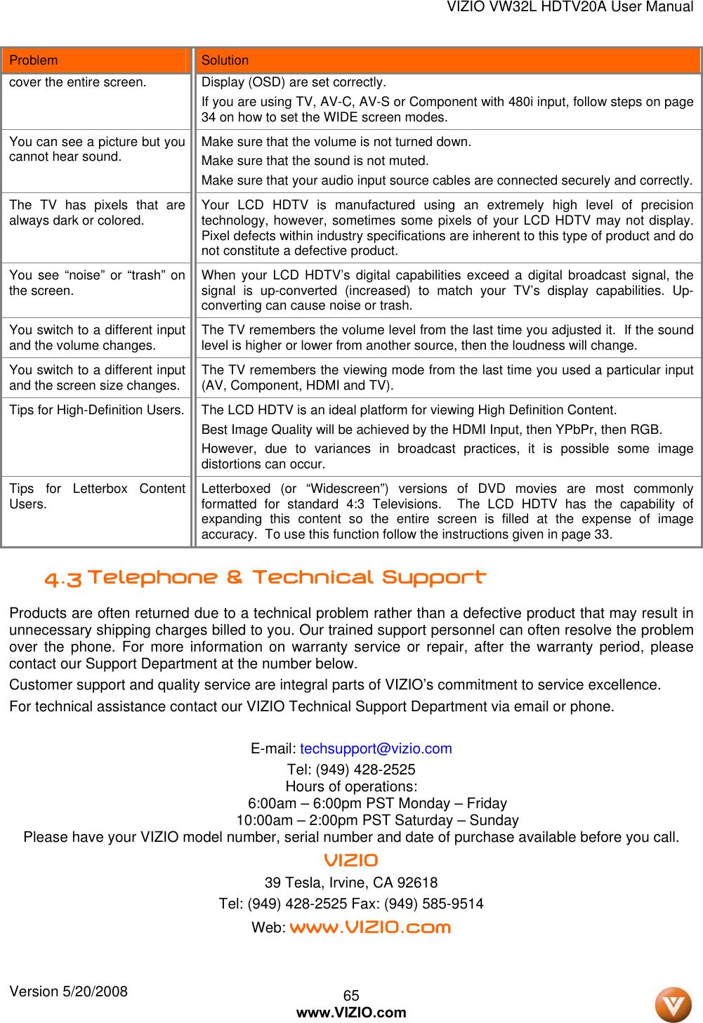Vizio Hdtv30A Vw32L Users Manual