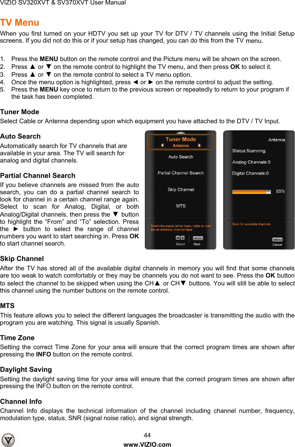 Vizio Sv320Xvt Users Manual 09 1096 SV320 & SV370XVT