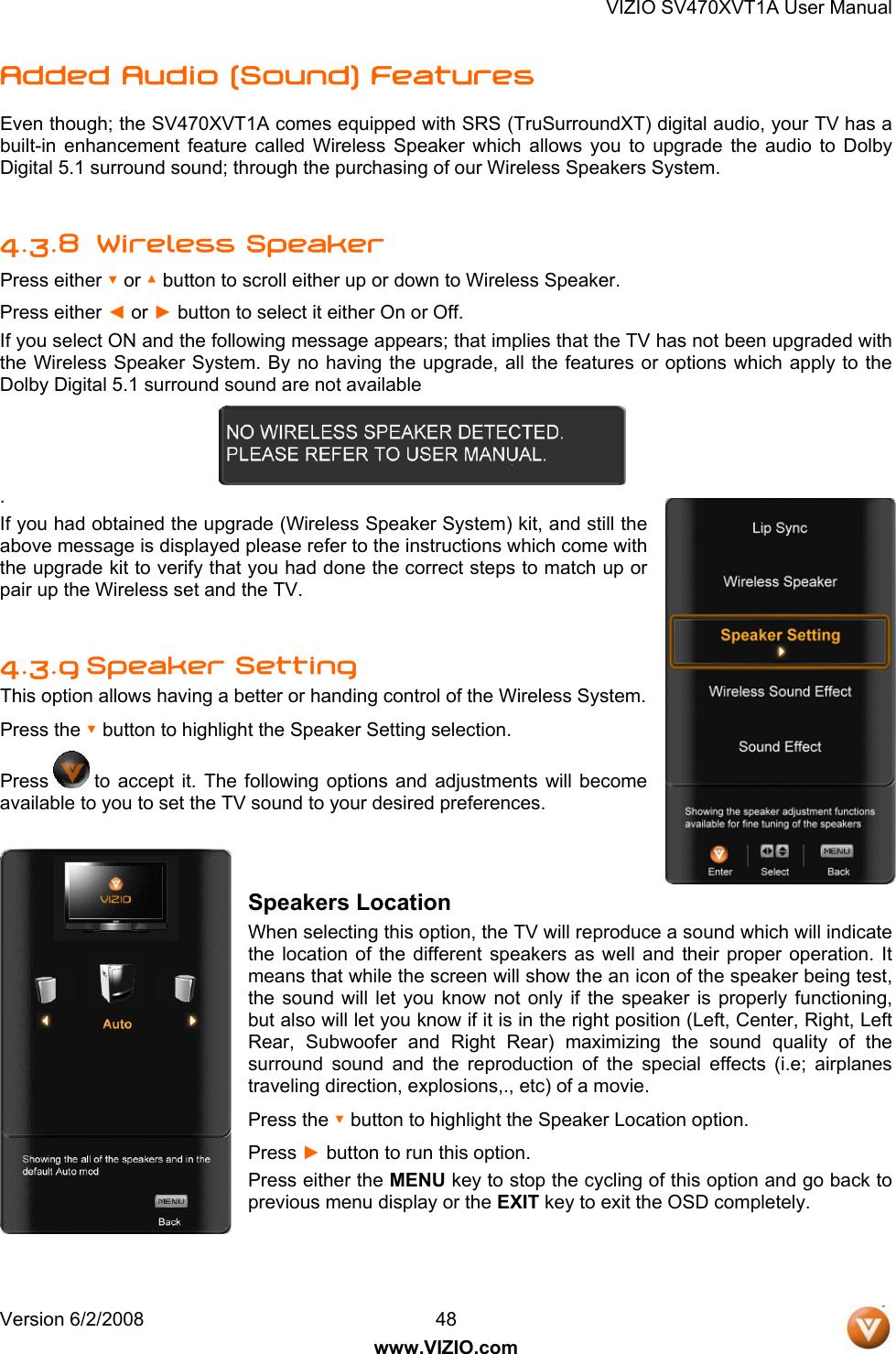 Vizio Sv470Xvt1A Users Manual