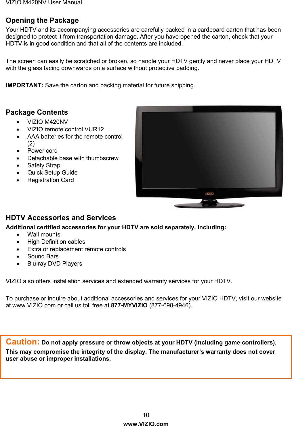 Vizio Projection Television M420Nv Users Manual 10 01135 User Manual_2