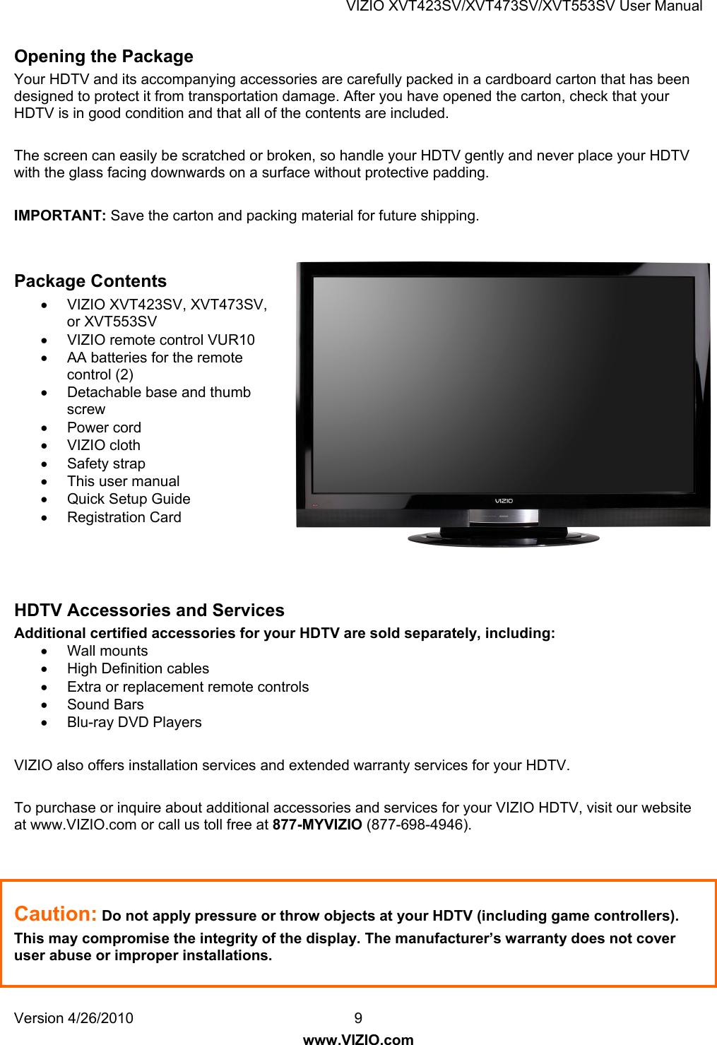 Vizio Xvt423Sv Users Manual 10 0478 XVT423 473 553SV_