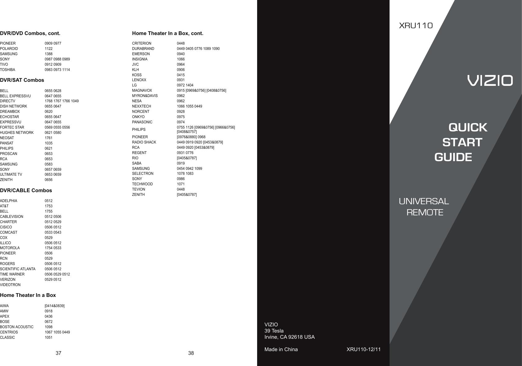 Vizio XRU110 QSG Pg37 Front User Manual To The Abb64624 211f 4927