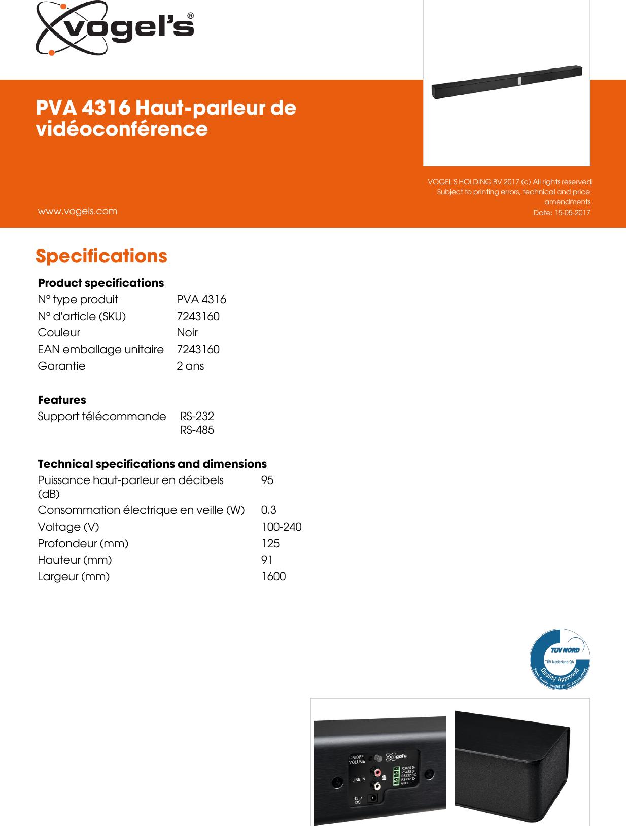 Type De Haut Parleur leaflet version 4.0 pva 4316 haut parleur de videoconference