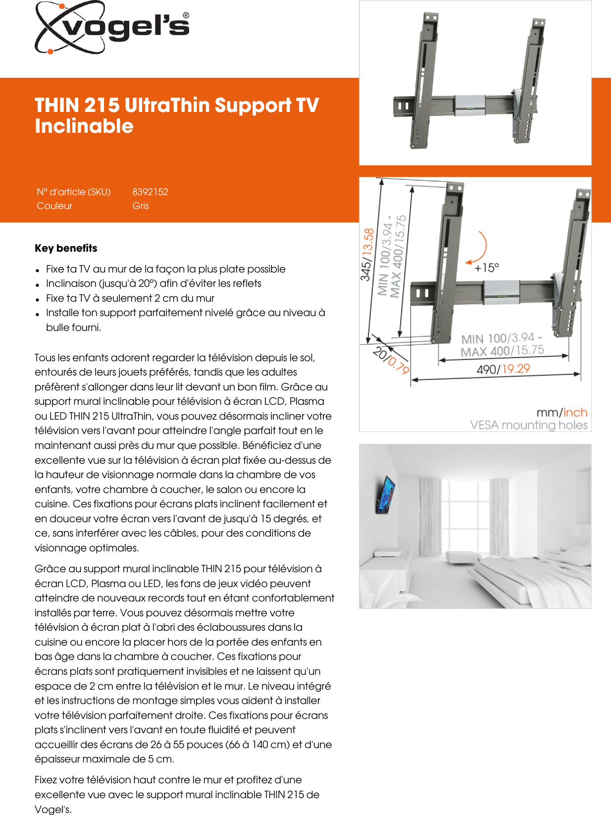 Leaflet Version 40 Thin 215 Ultra Support Tv Inclinable 2146 Fr