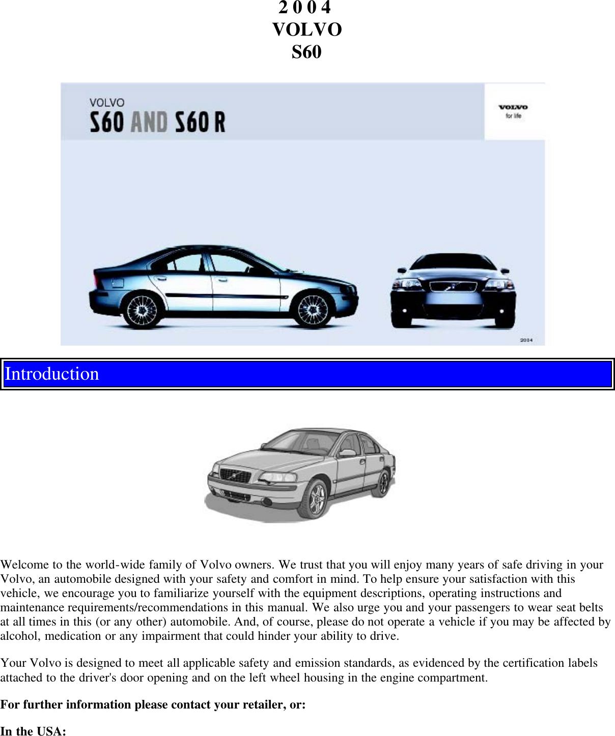 Volvo 2004 S60 Owners Manual