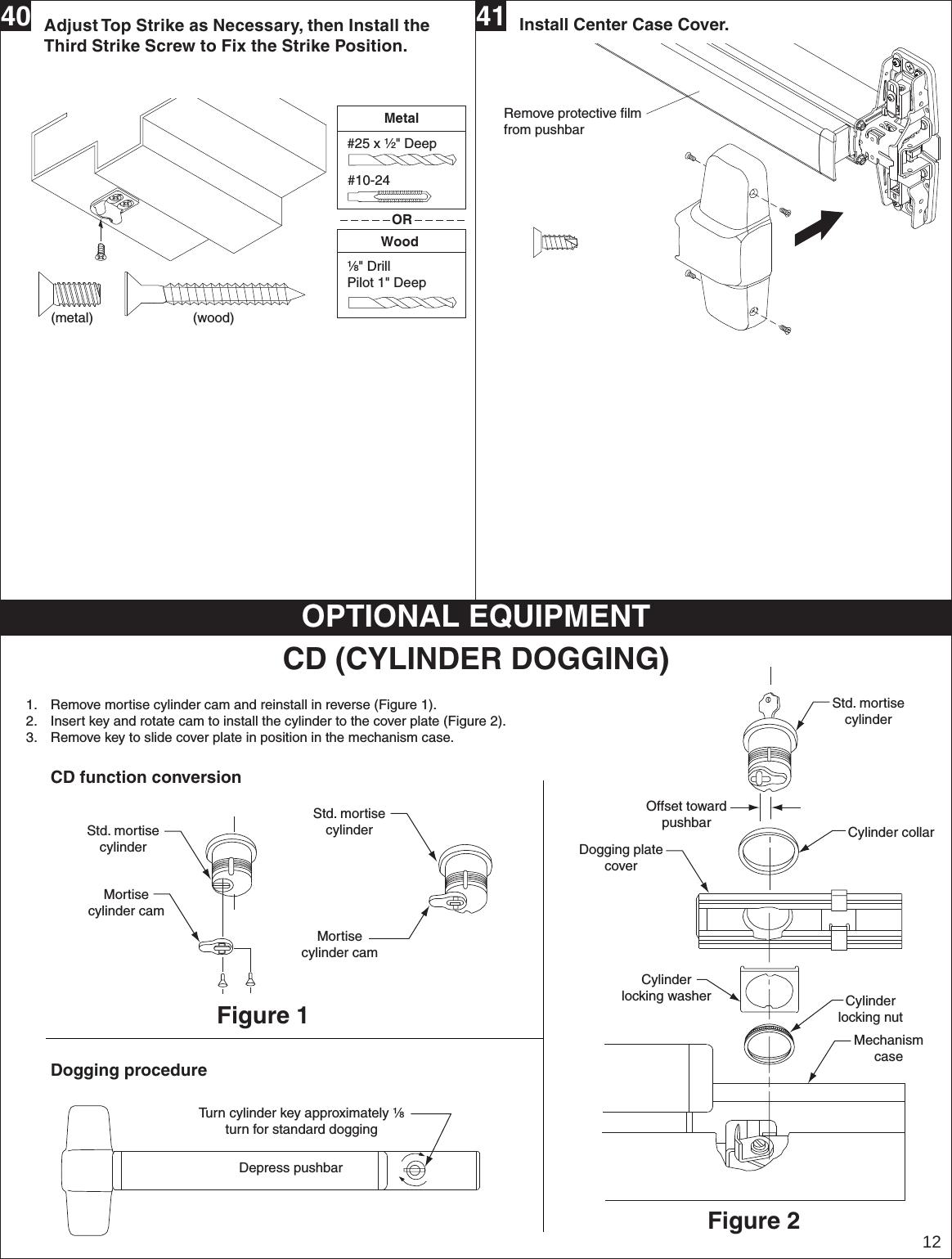 Von Duprin 23970734 G 98  9949 Metal Door Installation Instructions 105677