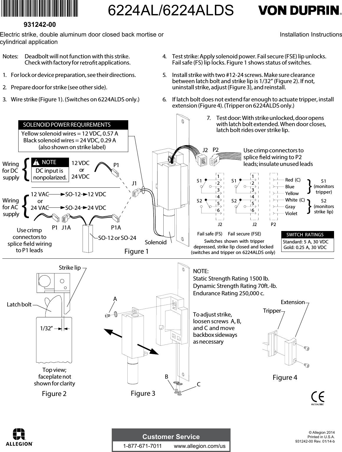 97 2 Von Duprin 6100 Series Electric Strike 33 35a Ps873 Wiring Diagram 6224al 6224alds 107694