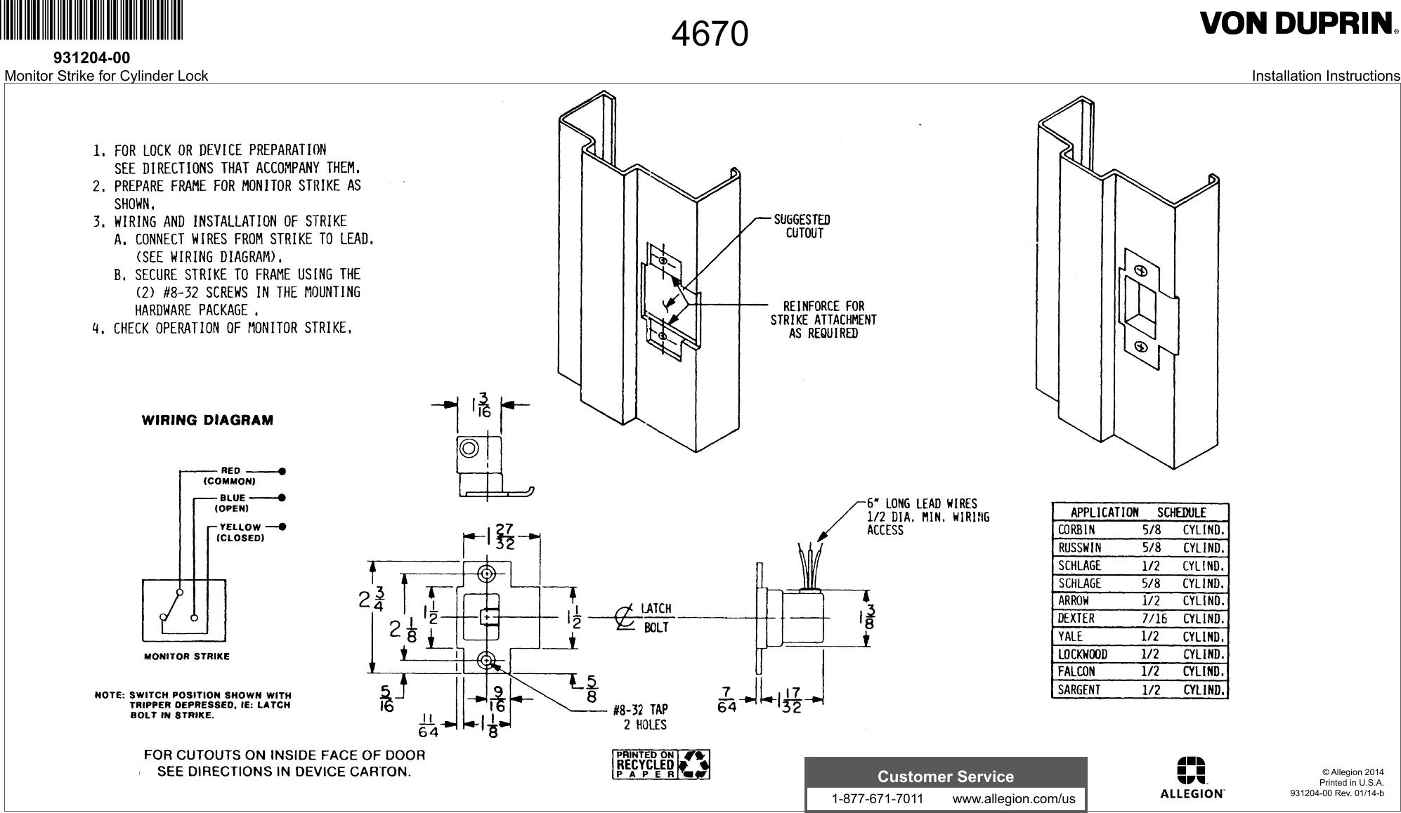 von duprin ps873 wiring diagram